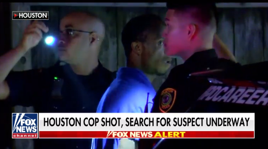 A Houston officer was shot Thursday in a gunfight with a suspect. (Photo: Fox News Screeen Shot)  -