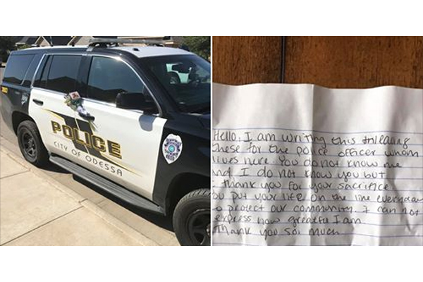 An officer with the Odessa Police Department took to social media to thank a woman who left a kind note of gratitude for his service and the service of his fellow officers to their community.  - Image courtesy ofOfficer Gary Potter / Facebook.
