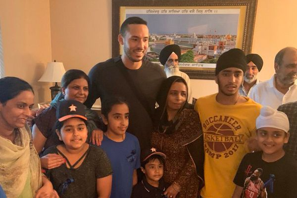 Carlos Correa—the Houston Astros shortstop who is preparing to play in the American League Wildcard Game on Wednesday—took time to visit with the family of Harris County Deputy Sandeep Dhaliwal, who was shot and killed during a traffic stop Friday.  - Image courtesy of Carlos Correa / Twitter.