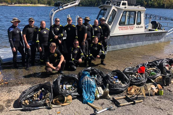 Oklahoma Dive Team Pulls 200 Pounds of Trash from Reservoir