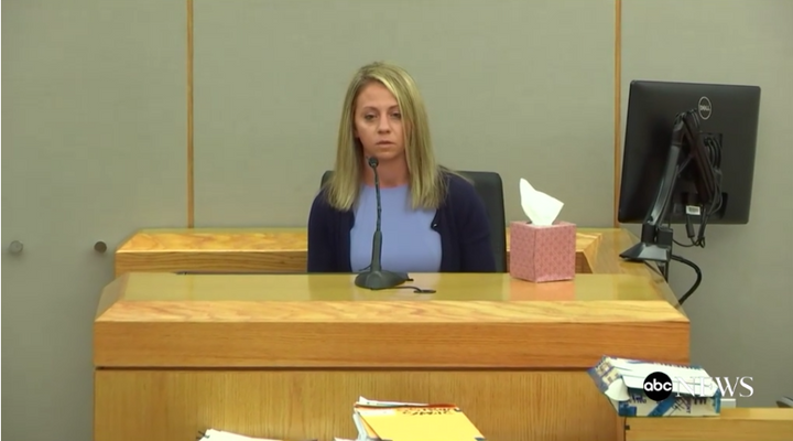 Fired Dallas officer Amber Guyger gives testimony in her murder trial. (Photo: ABC News Screen Shot)  -