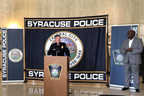 Captain John Brennan—who has been with the SPD since he was appointed as a trainee in October 1969—was honored during a ceremony at city hall on Monday.  - Image courtesy of Syracuse PD / Facebook.