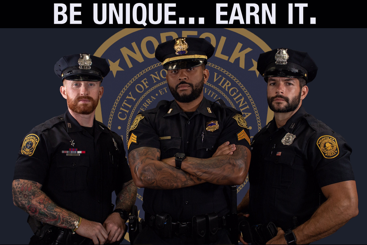 The Norfolk (VA) Police Department announced on Monday that it is ending its restrictions on full facial hair and visible tattoos.  - Image courtesy of Norfolk PD / Twitter.