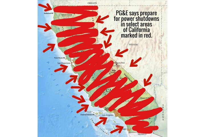 Pleasanton PD posted an image of the state of California on its Facebook page marking in red the areas potentially affected by power outages. The entire state was marked.
