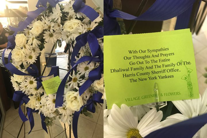 The New York Yankees—while preparing to begin a run at another World Series appearance—took time to send their condolences to the family, friends, and fellow deputies of Sandeep Dhaliwal with a wreath of flowers.