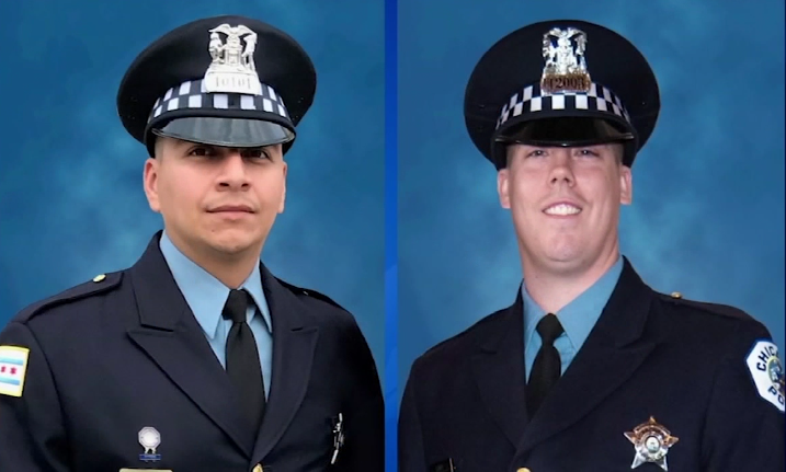 Officers Conrad Gary and Edward Marmolejo were investigating reports of shots fired on Metra tracks when they were struck and killed by a train.  - Photo: WLS-TV screenshot