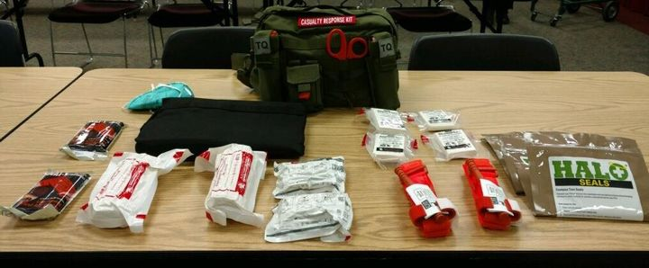 Ananonymous donor provided funding for active shooter crisis response kits that will be stationed in all four Ohio County Middle Schools and West Virginia Northern Community College.  - Image courtesy of Wheeling PD / Facebook.