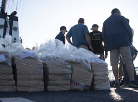 The Coast Guard Cutter Alert crew offloaded more than 6,800 pounds of cocaine, worth an estimated $92 million near San Diego on Wednesday.