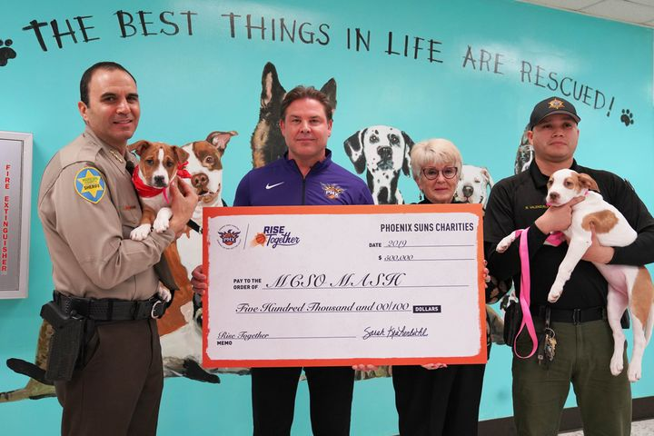 "The Phoenix Suns ""Rise Together"" Charities on Tuesday donated a half million dollars to the Maricopa County Sheriff's Office to help the agency in rehabilitation of inmates. - Image courtesy of Maricopa County Sheriff's Office / Facebook."