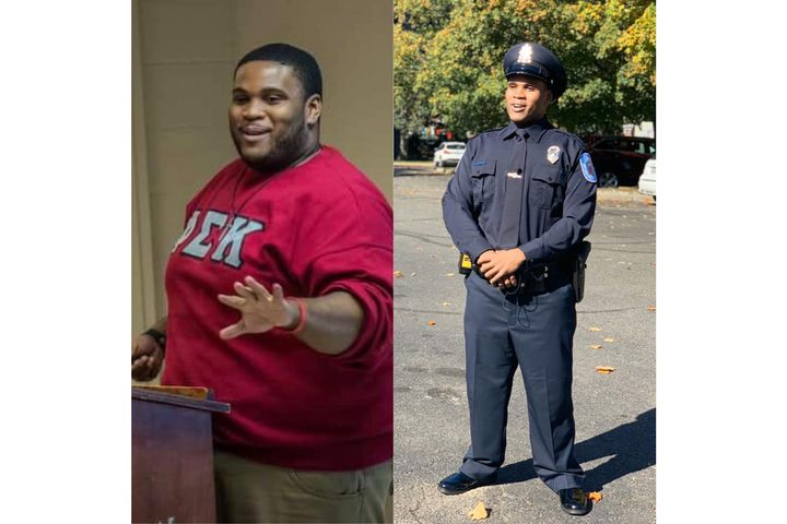 One of the graduates of the 120th Basic Recruit Class for the Richmond (VA) Police Department overcame a personal challenge in addition to the rigors of the training and learning he underwent alongside his classmates. He dropped nearly 200 pounds. - Image courtesy of Richmond PD / Facebook.