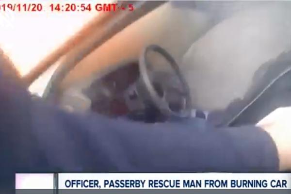 Video: Ohio Officer, Good Samaritan Pull Man from Burning Vehicle