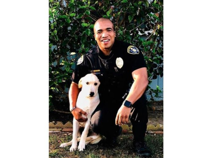 Officer Andre Thomas was still mourning the loss of his beloved pet Melakai—a Yellow Labrador—who died in March after spending ten years at the officer's side when he came upon the stolen vehicle he discovered in the back seat a frightened yellow Lab. (Photo: San Diego PD)  -