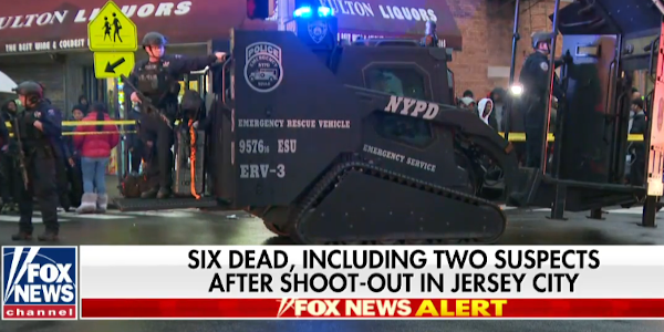 A Jersey City, NJ, police officer was killed in a standoff with active shooters Tuesday.