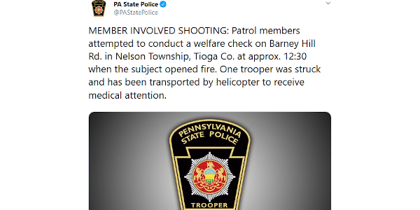 A Pennsylvania State trooper was shot and wounded conducting a welfare check and had to be...