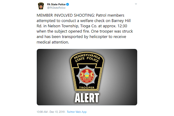 Pennsylvania State Trooper Shot, Wounded at Welfare Check