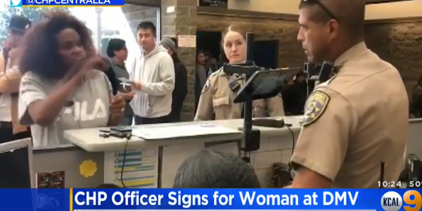 A California Highway Patrol officer was able to help a hearing impaired woman because he knew...