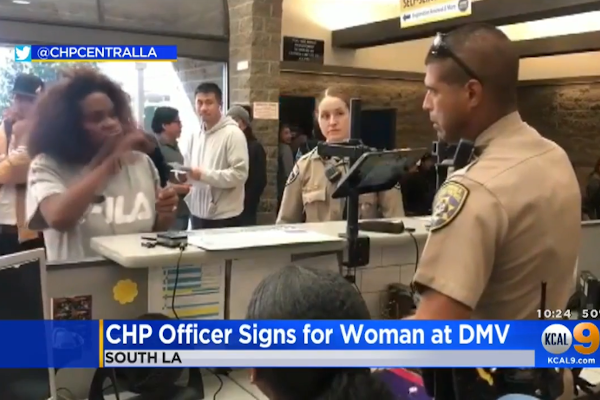 Video: CHP Officer Helps Woman Communicate at DMV Using ASL