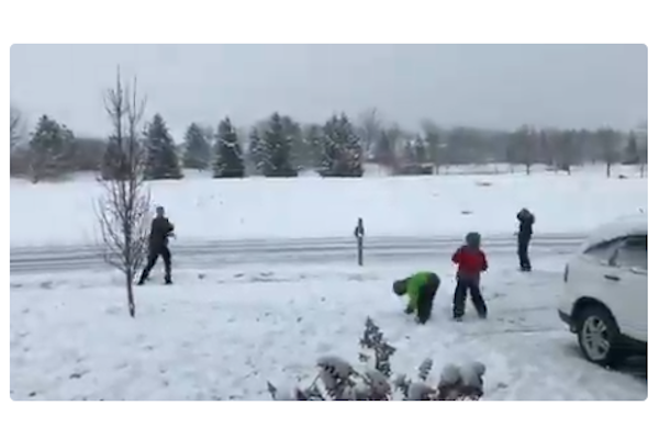 Video: Indiana Officer Engages Children in Snowball Fight