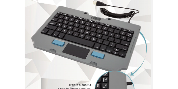 Gamber-Johnson's new Rugged Lite Keyboard is available in a kit bundled with the Quick Release...