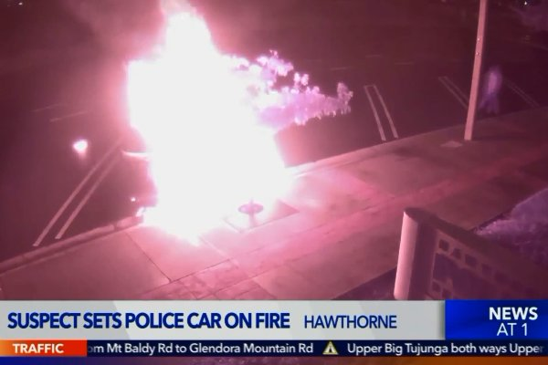 Video: Man Sets Patrol Vehicle On Fire Outside California Police Station
