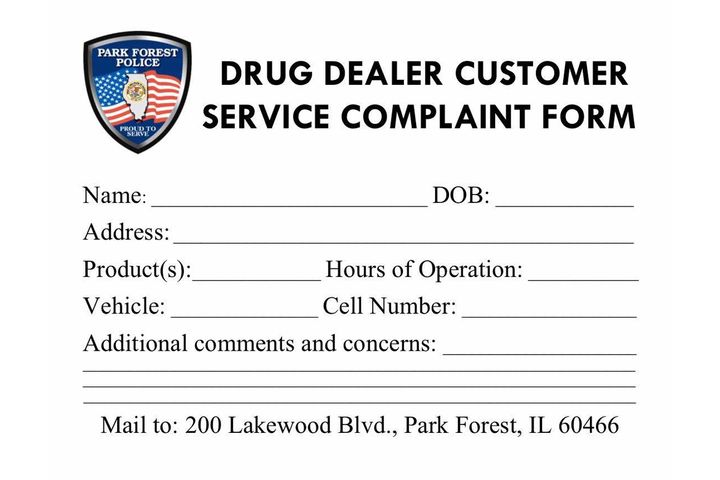 The Park Forest (IL) Police Department had some fun on social media with a post that sought to lure unsuspecting users of illegal drugs to send the agency information on their dealer's location and contact information. - Image courtesy ofPark Forest (IL) Police Department / Facebook.