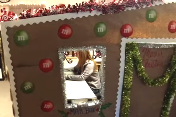 San Diego Police Employee Decorates Cubicle as Life-Size Gingerbread House