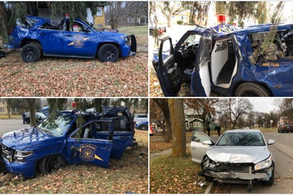 A trooper with the Michigan State Police was injured in a rollover crash as he was responding to a call for service on Tuesday. - Image courtesy of MSP / Twitter.