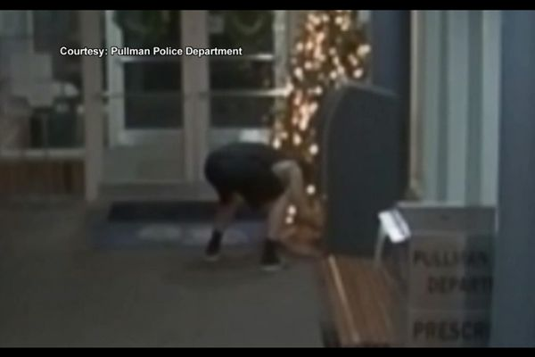 A 20-year-old college student booked into a Washington jail for underage drinking was seen on surveillance video attempting to steal packages from beneath the Christmas tree at the Pullman (WA) Police Department as he left the building. - Screen grab of video.