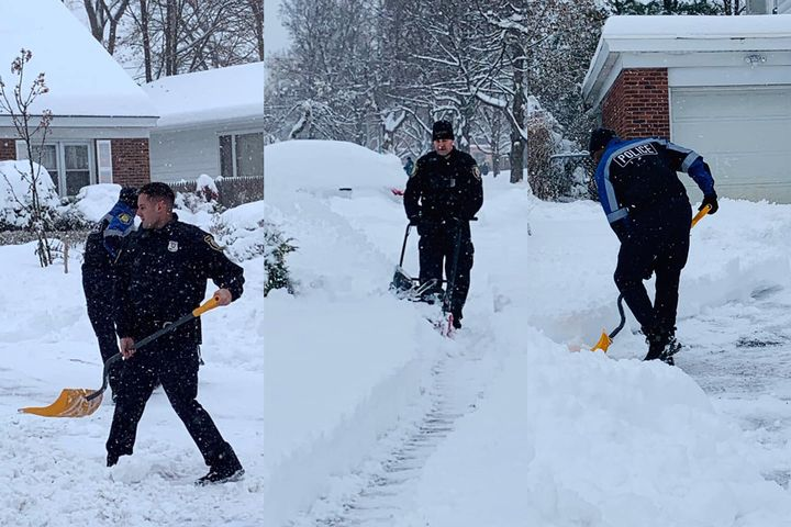 Three officers with the Albany (NY) Police Department came to the aid of a 99-year-old woman who called for help in clearing nearly 18 inches of newly fallen snow from here driveway so she could get out on Monday morning. - Image courtesy of Albany Police Department / Facebook.