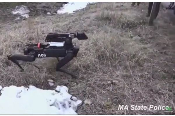 The Massachusetts State Police reportedly tested a robot dog produced by Waltham-based Boston Dynamics for three months from August to November. - Photo: CNN screenshot