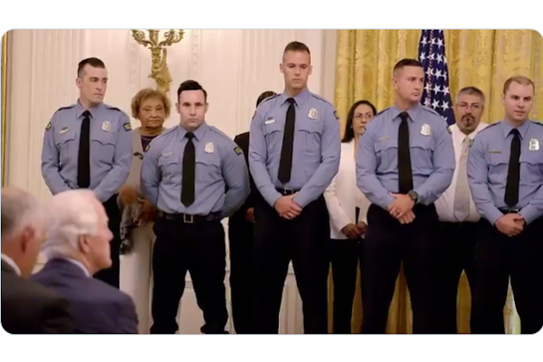 President Donald Trump presented the six Dayton, OH, officers with the Medal of Valor at the White House in September. - Photo: White House video screencapture