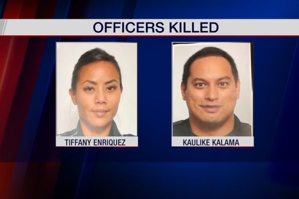 Officers Tiffany Enriquez and Kaulike Kalama were shot and killed at a stabbing call. - Photo: KITV screenshot