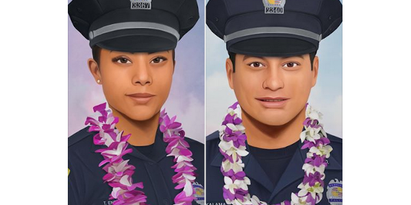 An artist created portraits of slain Hawaii Officers Tiffany Enriquez and Kaulike Kalama.