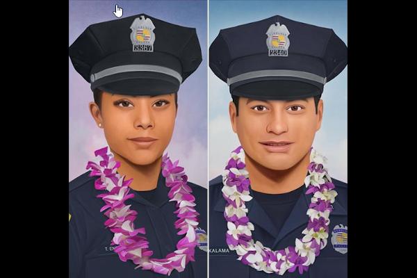 An artist created portraits of slain Hawaii Officers Tiffany Enriquez and Kaulike Kalama. - Photo: Jonny Castro Art
