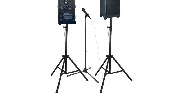 The AmpliVox SW925-96, shown with optional additional speaker, mic stand, and tripods.