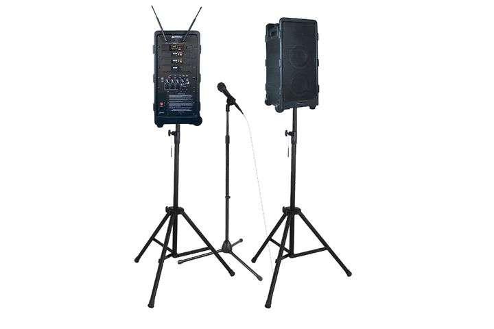 The AmpliVox SW925-96, shown with optional additional speaker, mic stand, and tripods. - Photo: AmpliVox