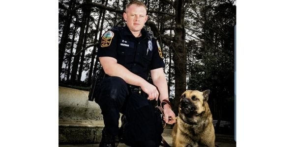 K-9 Ares with handler. (Photo: Franklin PD/Facebook)