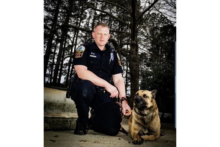 K-9 Ares with handler. (Photo: Franklin PD/Facebook) -