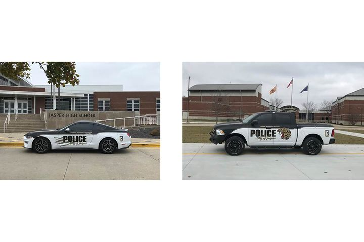 Two school resource officers with the Jasper (IA) Police Department are now outfitted with two patrol vehicles that were donated by a group of area residents who raised the money for the purchase and outfitting of the vehicles. - Images courtesy of Jasper Police Department.