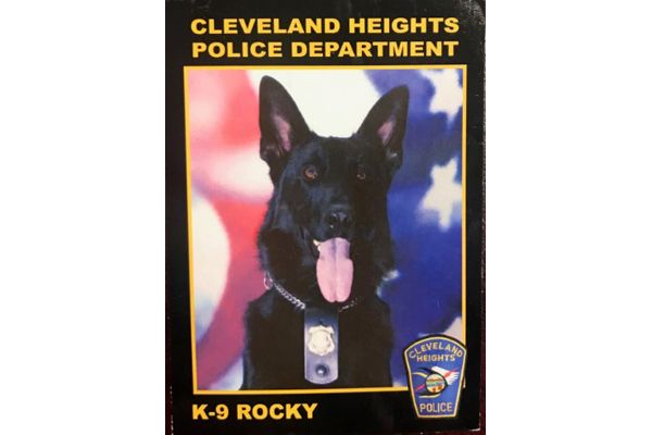 Officers with the Cleveland Heights (OH) Police Department are mourning the loss of K-9 Rocky, who died suddenly.  - Image courtesy of Cleveland Heights Police Department / Facebook.