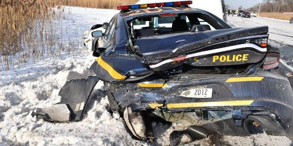 A New York State trooper was injured while investigating a traffic accident.