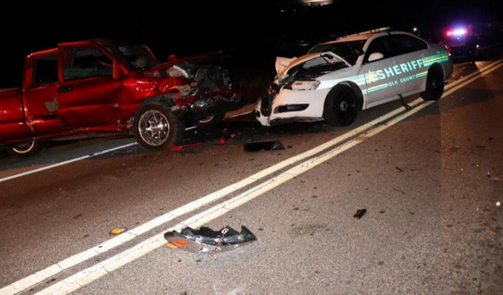 Two Polk County, FL, Sheriff's deputies were injured in a head-on crash with a DUI suspect Tuesday night. (Photo: Polk County SO) -