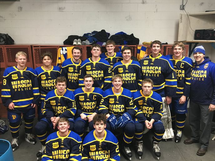 A high school hockey team in Minnesota that had hoped to honor an officer with the Waseca Police Department who was critically wounded in a shooting in early January by wearing jerseys bearing his name and badge number was disappointed to learn that their show of support was not supported by the Minnesota State High School League (MSHSL). - Image courtesy of Waseca Boys Hockey / Twitter.