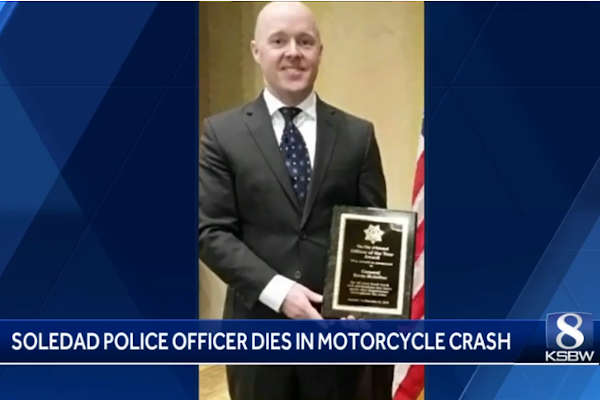 Officer Kevin McArthur died in a motorcycle crash. - Photo: KSBW screenshot