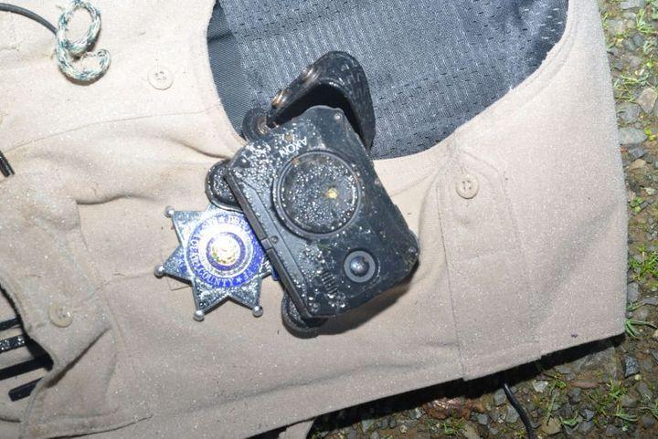 Santa Clara County (CA) Sheriff's Deputy Sukhdeep Gill was shot Friday night and the bullet hit his body camera. (Photo: Santa Clara SO) -