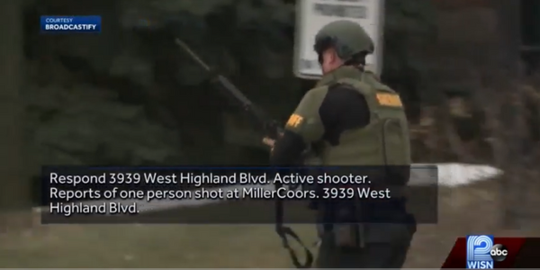 Officer responds to active shooter attack at MillerCoors headquarters in Milwaukee, WI. (Photo:...