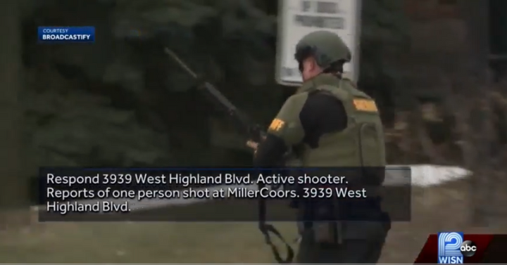 Officer responds to active shooter attack at MillerCoors headquarters in Milwaukee, WI. (Photo: WISN Screen Shot) -