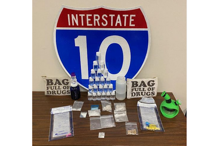 "Two men were arrested Saturday in Florida when their drugs were reportedly found in a bad marked ""Bag Full of Drug."" (Photo: Santa Rosa County SO) -"