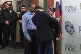 Video: Texas Officer Stunned at Arrival of Deployed Army Son at Swearing-In Ceremony