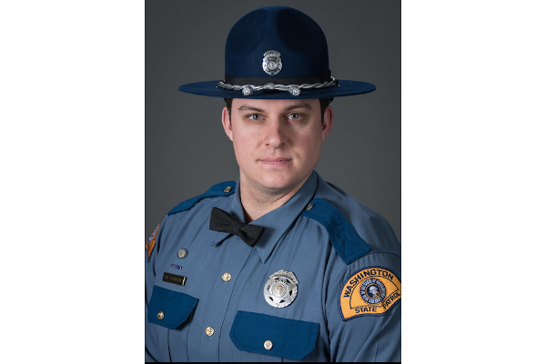 Police say a car involved in a Thurston County pursuit crashed into Trooper Justin Schaffer, 28, killing him. - Photo: Washington State Patrol